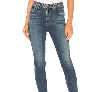 Agolde Roxanne High Rise Skinny Studded Jeans 26
